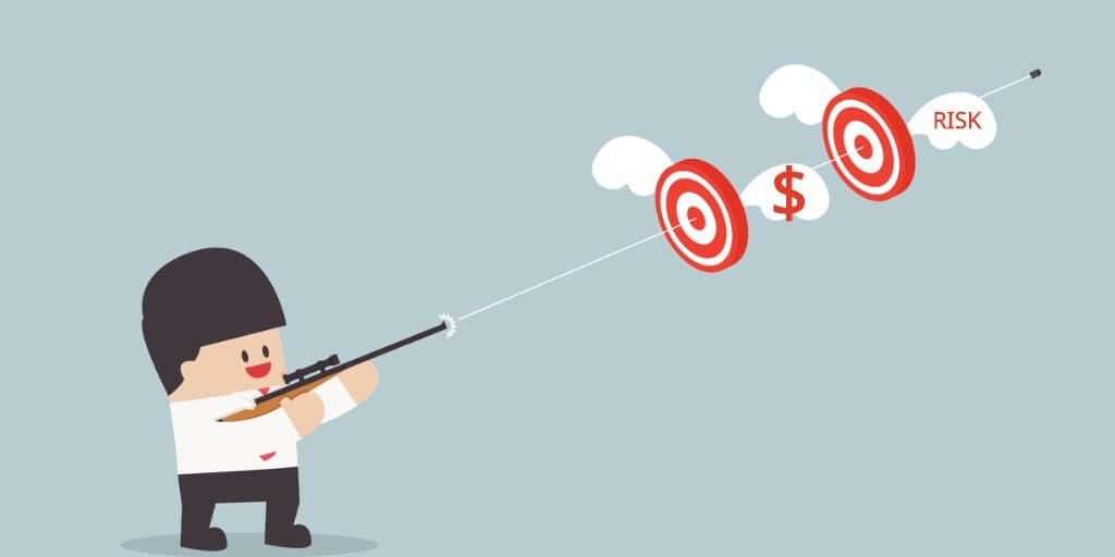 businessman-shoot-two-targets-with-one-bullet-vector-id532680813